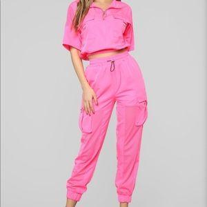 Neon pink matching set